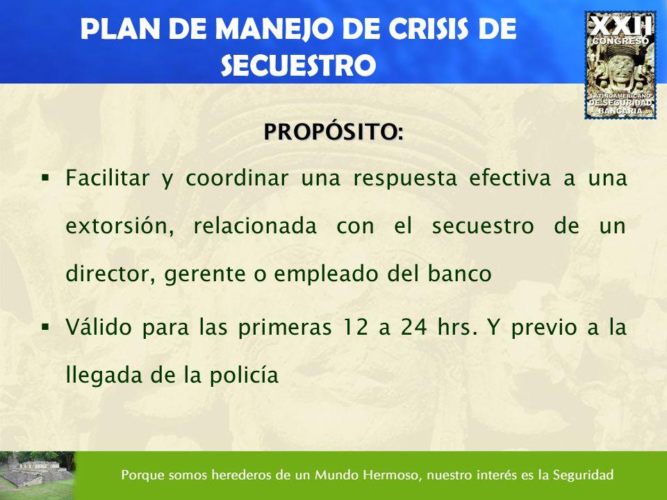 PLAN DE MANEJO DE CRISIS DE SECUESTRO PROPÓSITO: Facilitar y coordinar una respuesta efectiva a una extorsión, relacionada con el secuestro de un dire