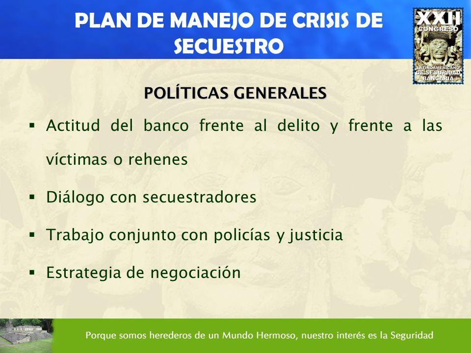 PLAN DE MANEJO DE CRISIS DE SECUESTRO POLÍTICAS GENERALES Actitud del banco frente al delito y frente a las víctimas o rehenes Diálogo con secuestrado