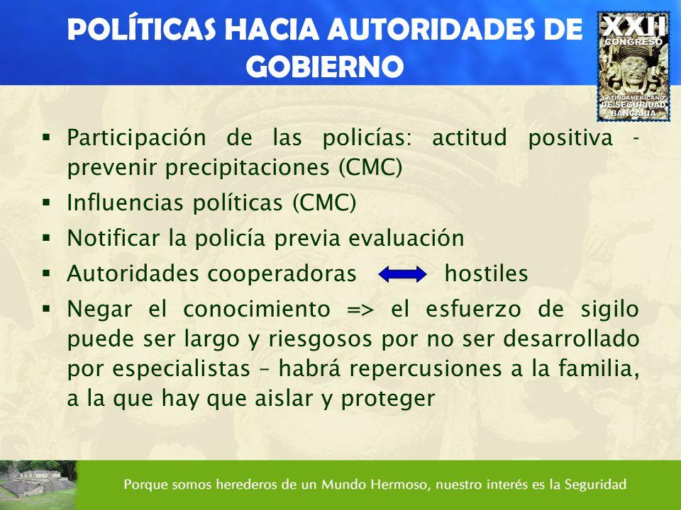 POLÍTICAS HACIA AUTORIDADES DE GOBIERNO Participación de las policías: actitud positiva - prevenir precipitaciones (CMC) Influencias políticas (CMC) N