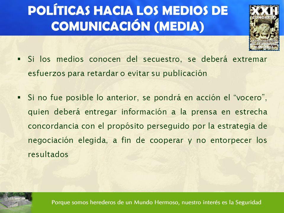 POLÍTICAS HACIA LOS MEDIOS DE COMUNICACIÓN (MEDIA) Si los medios conocen del secuestro, se deberá extremar esfuerzos para retardar o evitar su publica