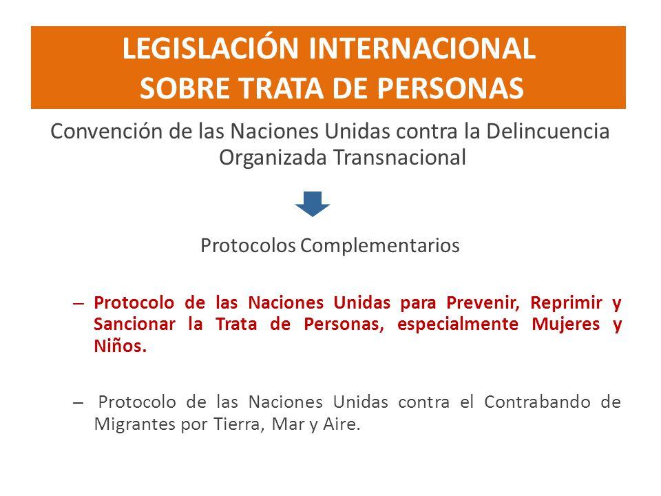 LEGISLACIÓN INTERNACIONAL SOBRE TRATA DE PERSONAS Convención de las Naciones Unidas contra la Delincuencia Organizada Transnacional Protocolos Complem