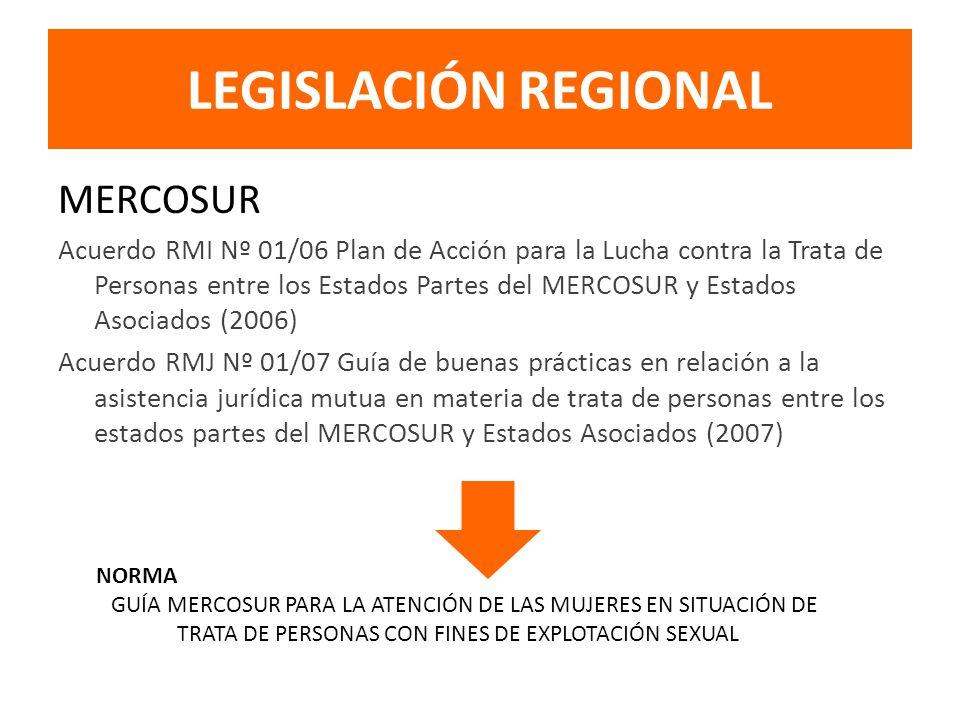 LEGISLACIÓN REGIONAL MERCOSUR Acuerdo RMI Nº 01/06 Plan de Acción para la Lucha contra la Trata de Personas entre los Estados Partes del MERCOSUR y Estados Asociados (2006) Acuerdo RMJ Nº 01/07 Guía de buenas prácticas en relación a la asistencia jurídica mutua en materia de trata de personas entre los estados partes del MERCOSUR y Estados Asociados (2007) NORMA GUÍA MERCOSUR PARA LA ATENCIÓN DE LAS MUJERES EN SITUACIÓN DE TRATA DE PERSONAS CON FINES DE EXPLOTACIÓN SEXUAL