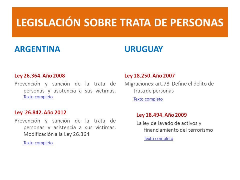 LEGISLACIÓN SOBRE TRATA DE PERSONAS ARGENTINA Ley 26.364. Año 2008 Prevención y sanción de la trata de personas y asistencia a sus víctimas. Texto com