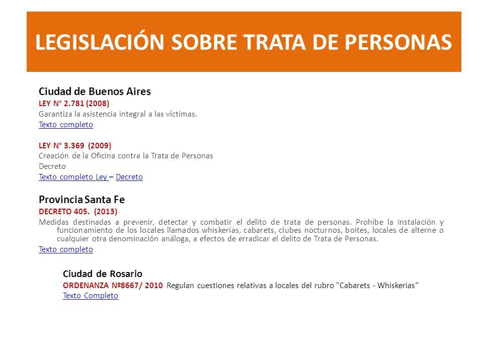 LEGISLACIÓN SOBRE TRATA DE PERSONAS Ciudad de Buenos Aires LEY N° 2.781 (2008) Garantiza la asistencia integral a las víctimas. Texto completo LEY N°