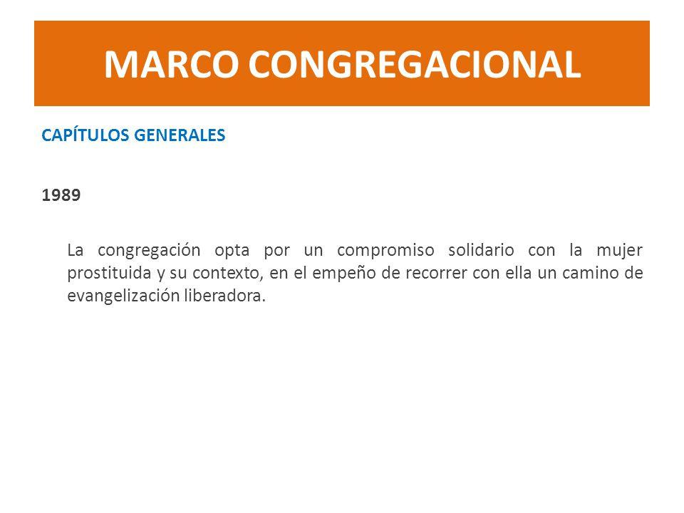 MARCO CONGREGACIONAL CAPÍTULOS GENERALES 1989 La congregación opta por un compromiso solidario con la mujer prostituida y su contexto, en el empeño de