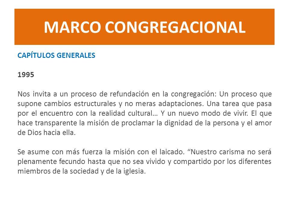 MARCO CONGREGACIONAL CAPÍTULOS GENERALES 1995 Nos invita a un proceso de refundación en la congregación: Un proceso que supone cambios estructurales y