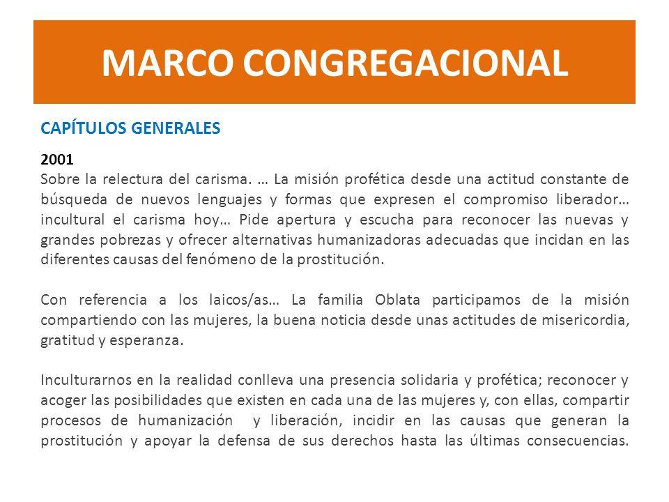 MARCO CONGREGACIONAL CAPÍTULOS GENERALES 2001 Sobre la relectura del carisma. … La misión profética desde una actitud constante de búsqueda de nuevos