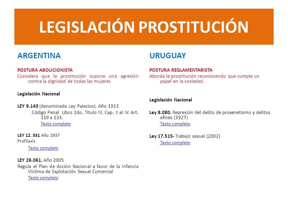 LEGISLACIÓN PROSTITUCIÓN ARGENTINA POSTURA ABOLICIONISTA Considera que la prostitución supone una agresión contra la dignidad de todas las mujeres Leg