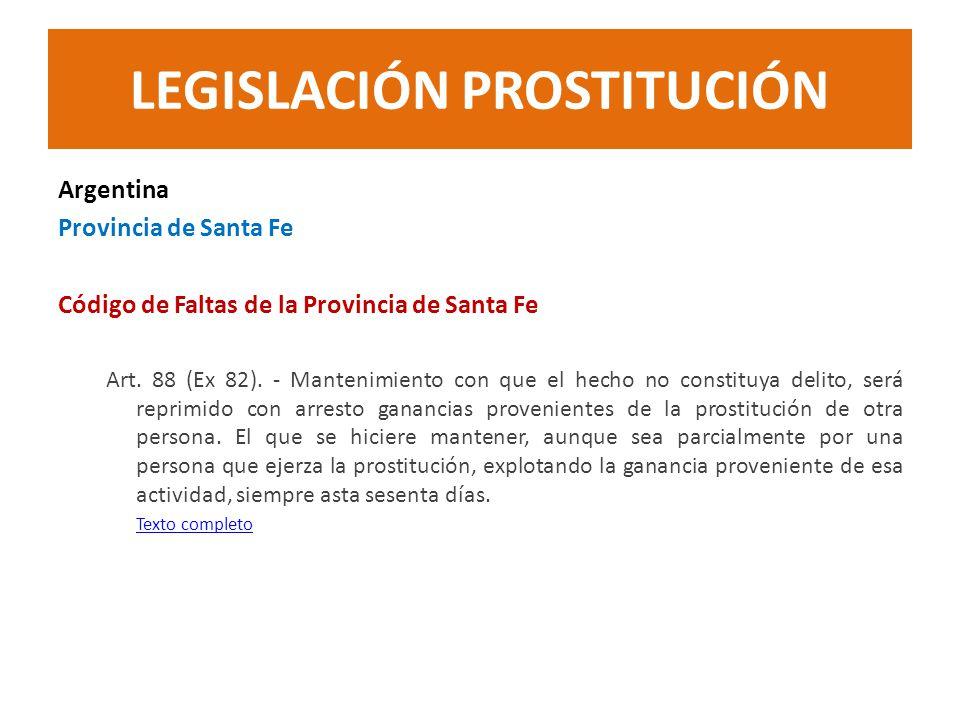 Argentina Provincia de Santa Fe Código de Faltas de la Provincia de Santa Fe Art. 88 (Ex 82). - Mantenimiento con que el hecho no constituya delito, s