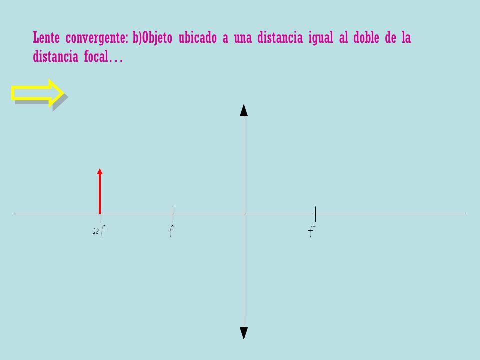 Lente convergente: b)Objeto ubicado a una distancia igual al doble de la distancia focal… f f´ 2f
