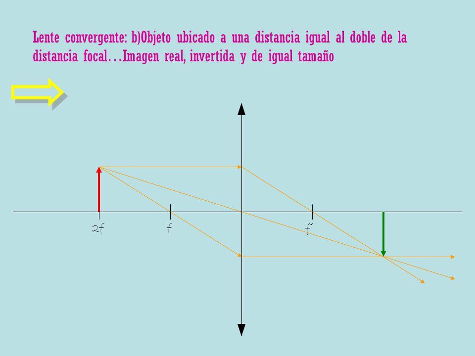 Lente convergente: b)Objeto ubicado a una distancia igual al doble de la distancia focal…Imagen real, invertida y de igual tamaño f f´ 2f