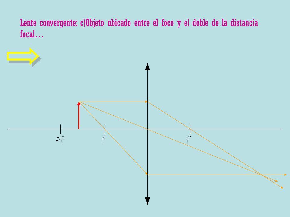 f f´ 2f Lente convergente: c)Objeto ubicado entre el foco y el doble de la distancia focal…