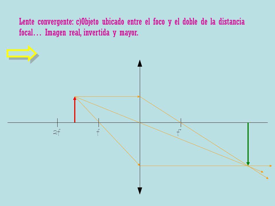 f f´ 2f Lente convergente: c)Objeto ubicado entre el foco y el doble de la distancia focal… Imagen real, invertida y mayor.