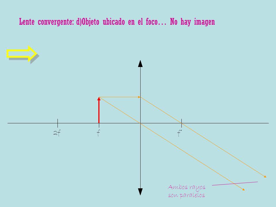 Lente convergente: d)Objeto ubicado en el foco… No hay imagen f f´ 2f Ambos rayos son paralelos