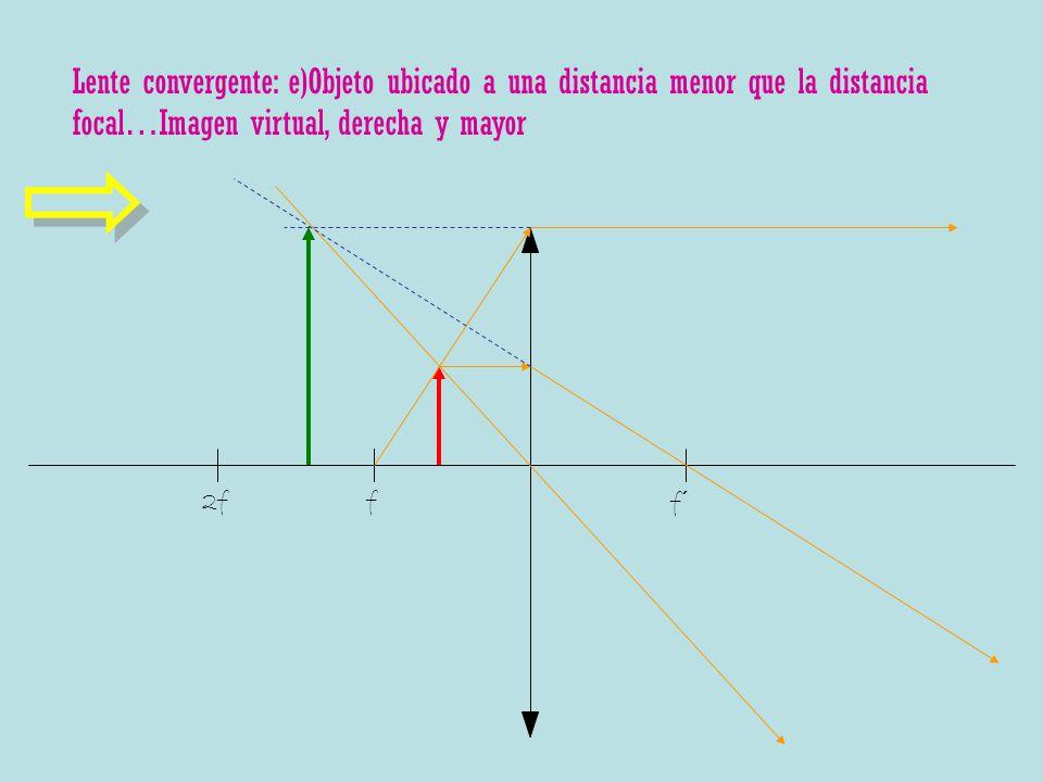 Lente convergente: e)Objeto ubicado a una distancia menor que la distancia focal…Imagen virtual, derecha y mayor f f´ 2f