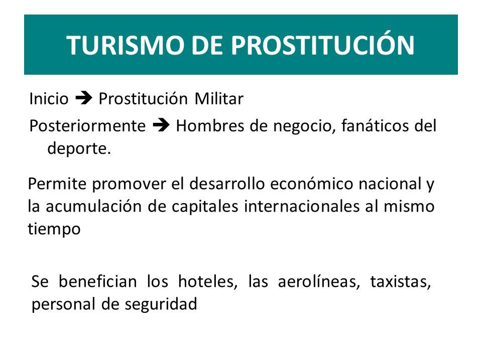 TURISMO DE PROSTITUCIÓN Inicio Prostitución Militar Posteriormente Hombres de negocio, fanáticos del deporte. Se benefician los hoteles, las aerolínea