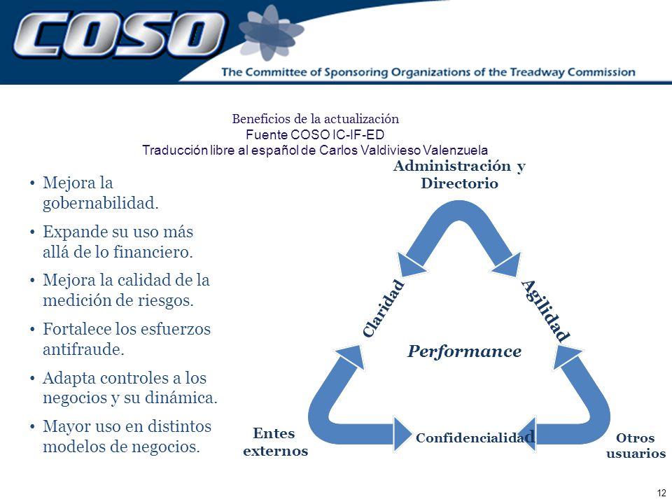 12 Agilidad Claridad Confidencialida d Beneficios de la actualización Fuente COSO IC-IF-ED Traducción libre al español de Carlos Valdivieso Valenzuela