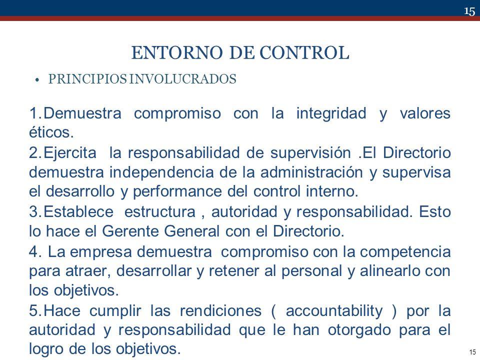 15 ENTORNO DE CONTROL PRINCIPIOS INVOLUCRADOS 1.Demuestra compromiso con la integridad y valores éticos. 2.Ejercita la responsabilidad de supervisión.