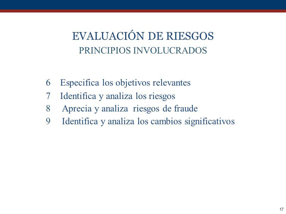 17 EVALUACIÓN DE RIESGOS PRINCIPIOS INVOLUCRADOS 6 Especifica los objetivos relevantes 7 Identifica y analiza los riesgos 8Aprecia y analiza riesgos d