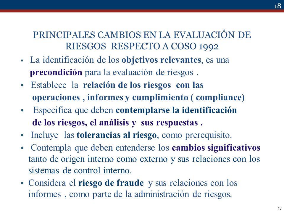 18 PRINCIPALES CAMBIOS EN LA EVALUACIÓN DE RIESGOS RESPECTO A COSO 1992 La identificación de los objetivos relevantes, es una precondición para la eva