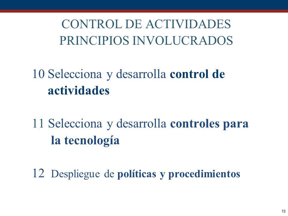 19 CONTROL DE ACTIVIDADES PRINCIPIOS INVOLUCRADOS 10 Selecciona y desarrolla control de actividades 11Selecciona y desarrolla controles para la tecnol