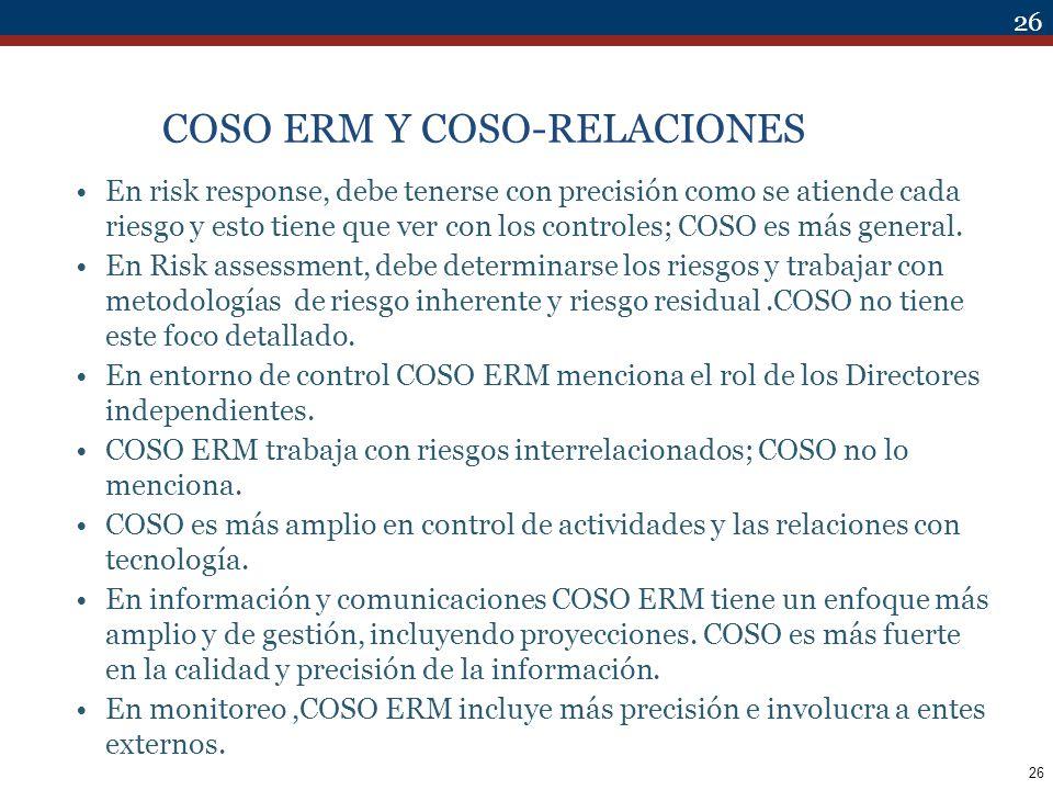 26 COSO ERM Y COSO-RELACIONES En risk response, debe tenerse con precisión como se atiende cada riesgo y esto tiene que ver con los controles; COSO es