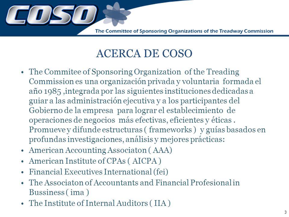 3 ACERCA DE COSO The Commitee of Sponsoring Organization of the Treading Commission es una organización privada y voluntaria formada el año 1985,integ
