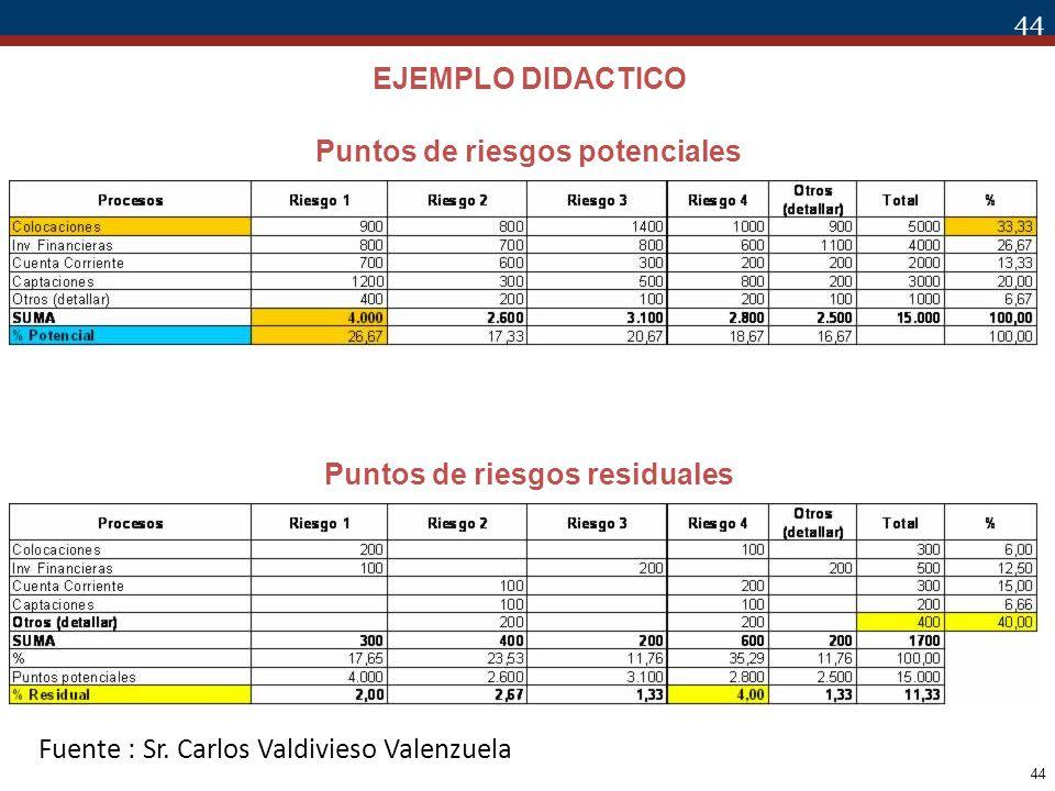 44 Puntos de riesgos potenciales Puntos de riesgos residuales EJEMPLO DIDACTICO Fuente : Sr. Carlos Valdivieso Valenzuela