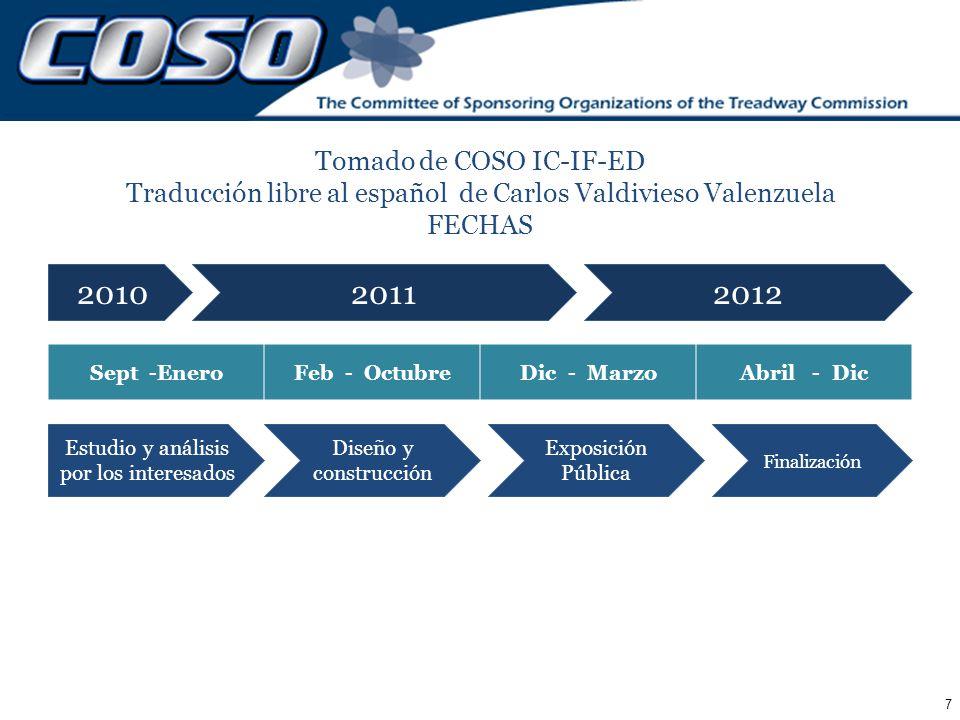 7 Tomado de COSO IC-IF-ED Traducción libre al español de Carlos Valdivieso Valenzuela FECHAS Sept -EneroFeb - OctubreDic - MarzoAbril - Dic Estudio y
