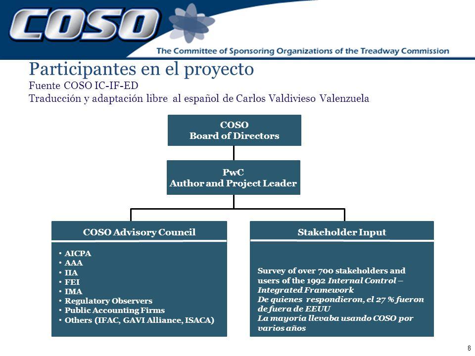 8 Participantes en el proyecto Fuente COSO IC-IF-ED Traducción y adaptación libre al español de Carlos Valdivieso Valenzuela COSO Board of Directors C