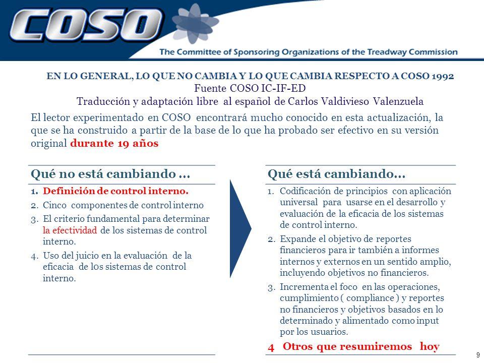 9 EN LO GENERAL, LO QUE NO CAMBIA Y LO QUE CAMBIA RESPECTO A COSO 1992 Fuente COSO IC-IF-ED Traducción y adaptación libre al español de Carlos Valdivi