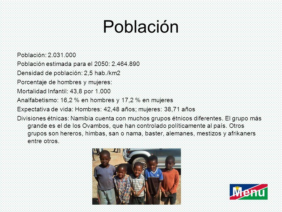 Población Población: 2.031.000 Población estimada para el 2050: 2.464.890 Densidad de población: 2,5 hab./km2 Porcentaje de hombres y mujeres: Mortali