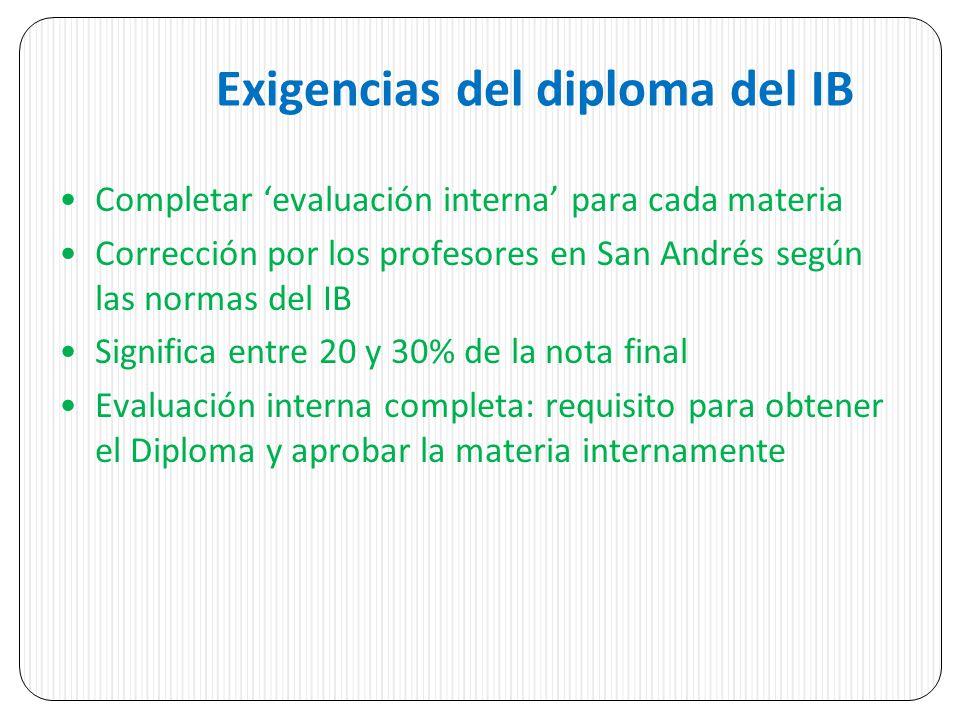 Exigencias del diploma del IB Completar evaluación interna para cada materia Corrección por los profesores en San Andrés según las normas del IB Signi