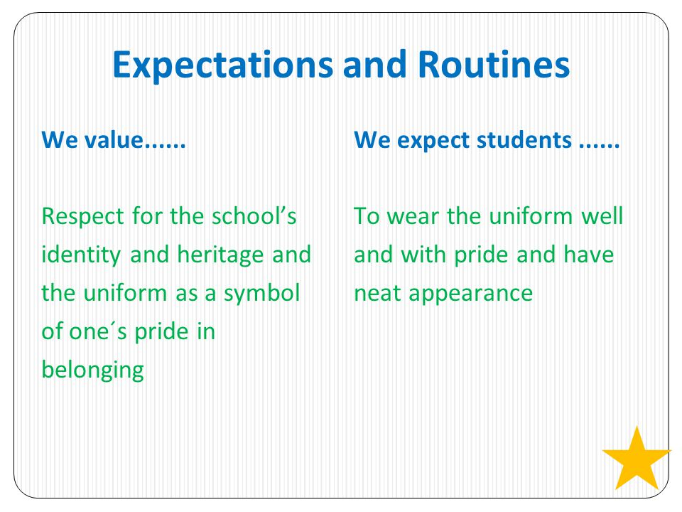 Expectations and Routines We value......