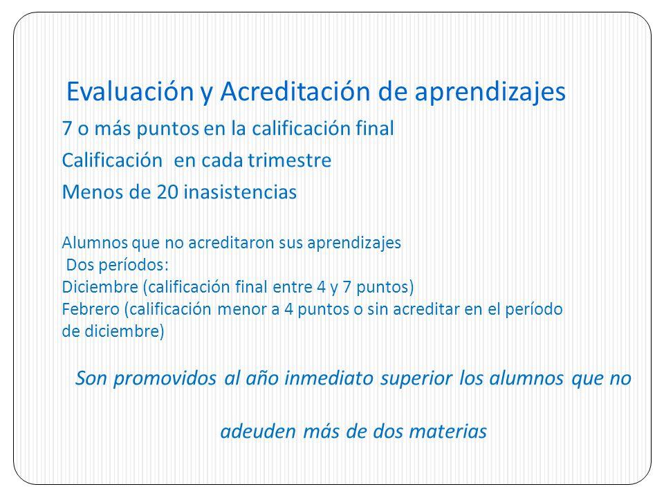 Evaluación y Acreditación de aprendizajes 7 o más puntos en la calificación final Calificación en cada trimestre Menos de 20 inasistencias Alumnos que