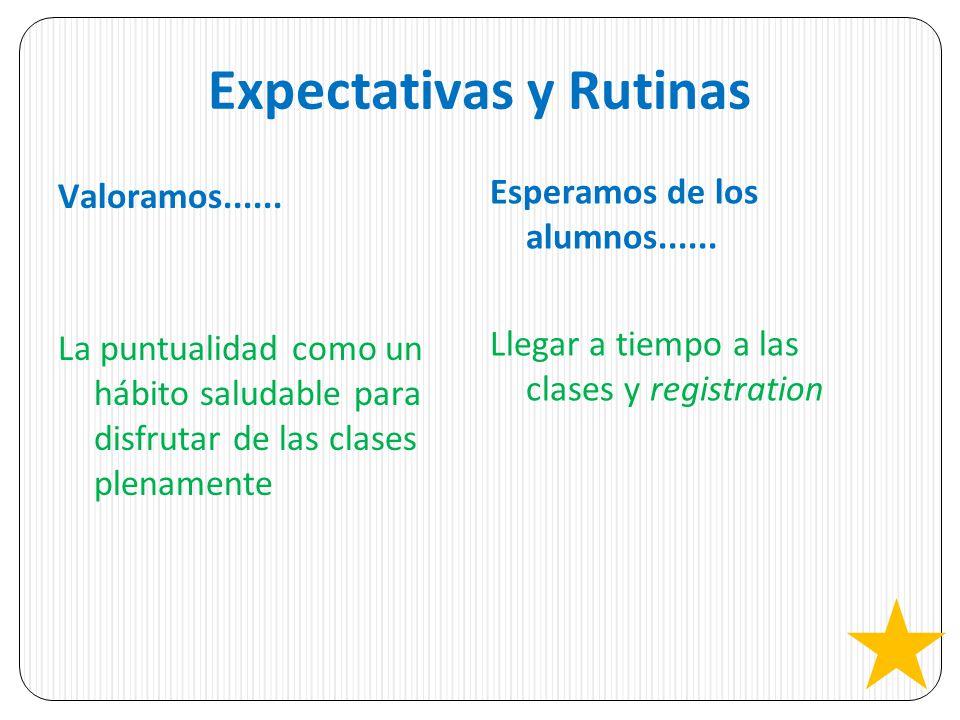 Expectativas y Rutinas Valoramos...... La puntualidad como un hábito saludable para disfrutar de las clases plenamente Esperamos de los alumnos......