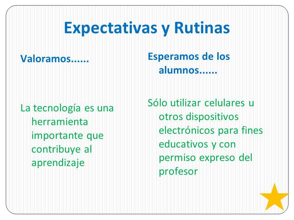 Expectativas y Rutinas Valoramos...... La tecnología es una herramienta importante que contribuye al aprendizaje Esperamos de los alumnos...... Sólo u