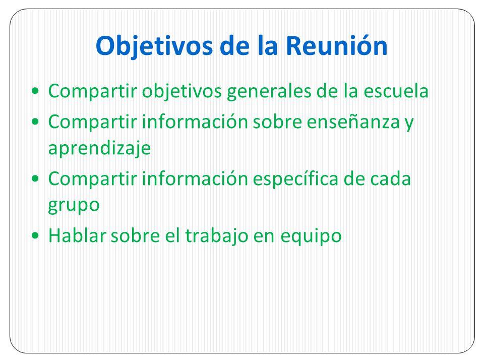 Objetivos de la Reunión Compartir objetivos generales de la escuela Compartir información sobre enseñanza y aprendizaje Compartir información específica de cada grupo Hablar sobre el trabajo en equipo