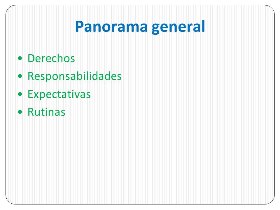 Panorama general Derechos Responsabilidades Expectativas Rutinas