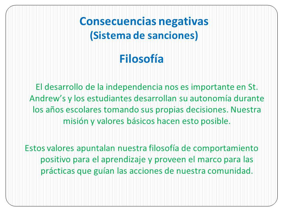 Consecuencias negativas (Sistema de sanciones) Filosofía El desarrollo de la independencia nos es importante en St.