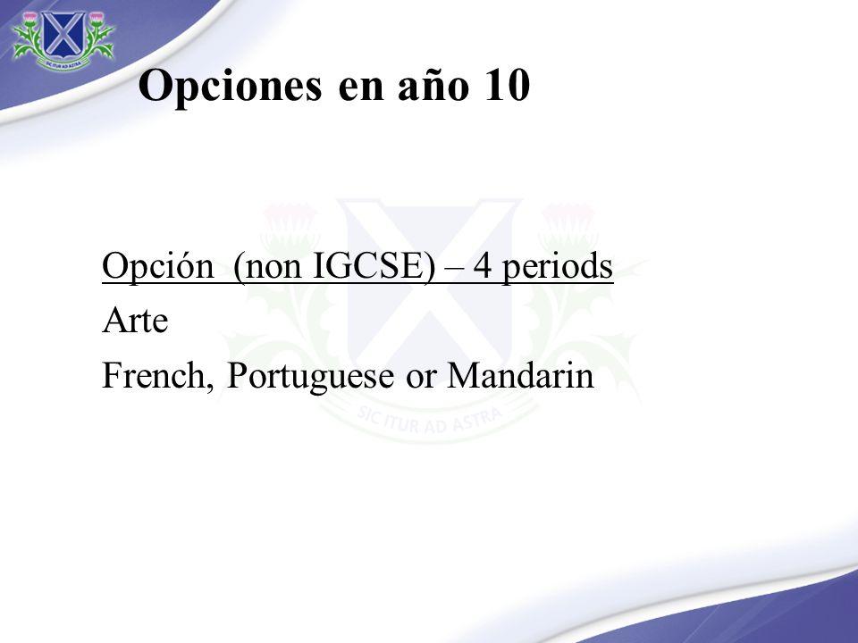 Opciones en año 10 Opción (non IGCSE) – 4 periods Arte French, Portuguese or Mandarin