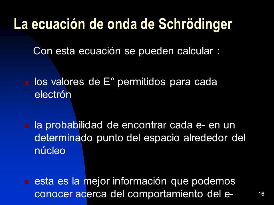 16 Con esta ecuación se pueden calcular : los valores de E° permitidos para cada electrón la probabilidad de encontrar cada e- en un determinado punto del espacio alrededor del núcleo esta es la mejor información que podemos conocer acerca del comportamiento del e- La ecuación de onda de Schrödinger