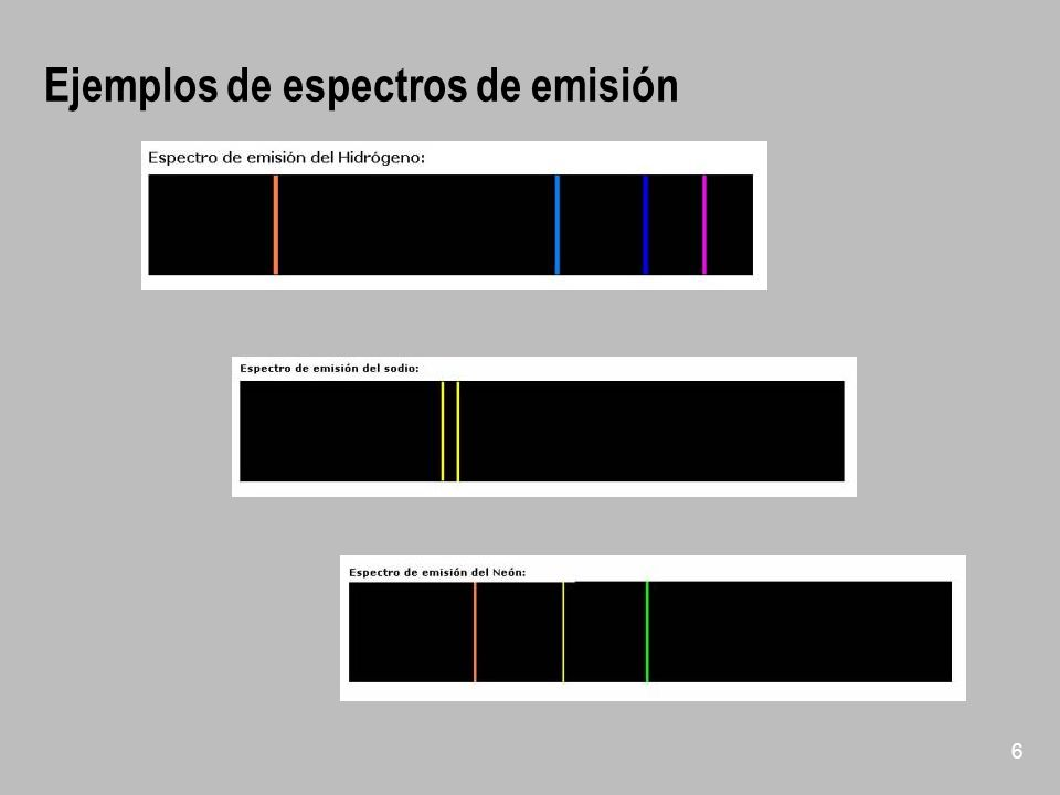 Ejemplos de espectros de emisión 6