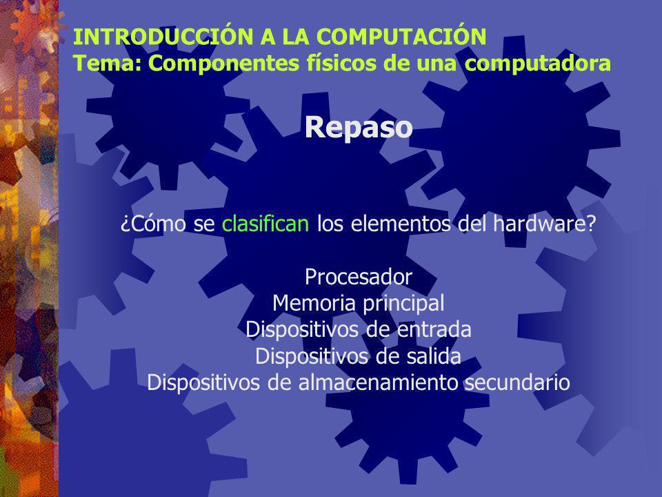 INTRODUCCIÓN A LA COMPUTACIÓN Tema: Componentes físicos de una computadora Desde los inicios de la era de la computación se ha buscado un modelo eficiente para procesar datos, es decir, hardware capaz de memorizar datos, transformarlos y mostrar los resultados.