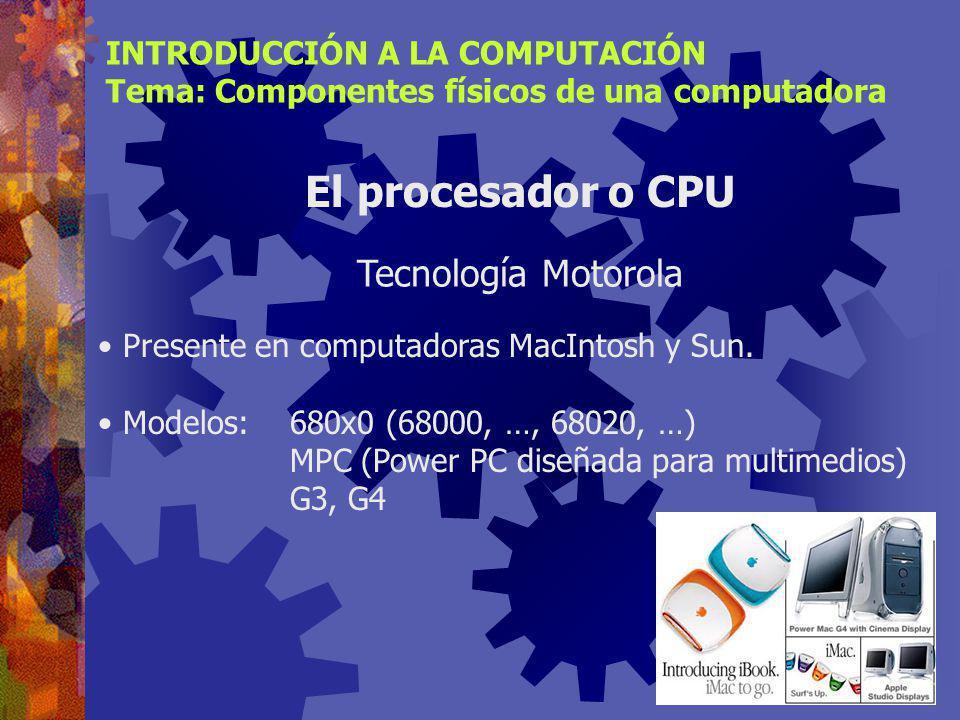 Presente en computadoras IBM y compatibles. Modelos:8086 (año 1981), …286, 386, 486 Pentium, Pentium Pro, …, Pentium IV INTRODUCCIÓN A LA COMPUTACIÓN