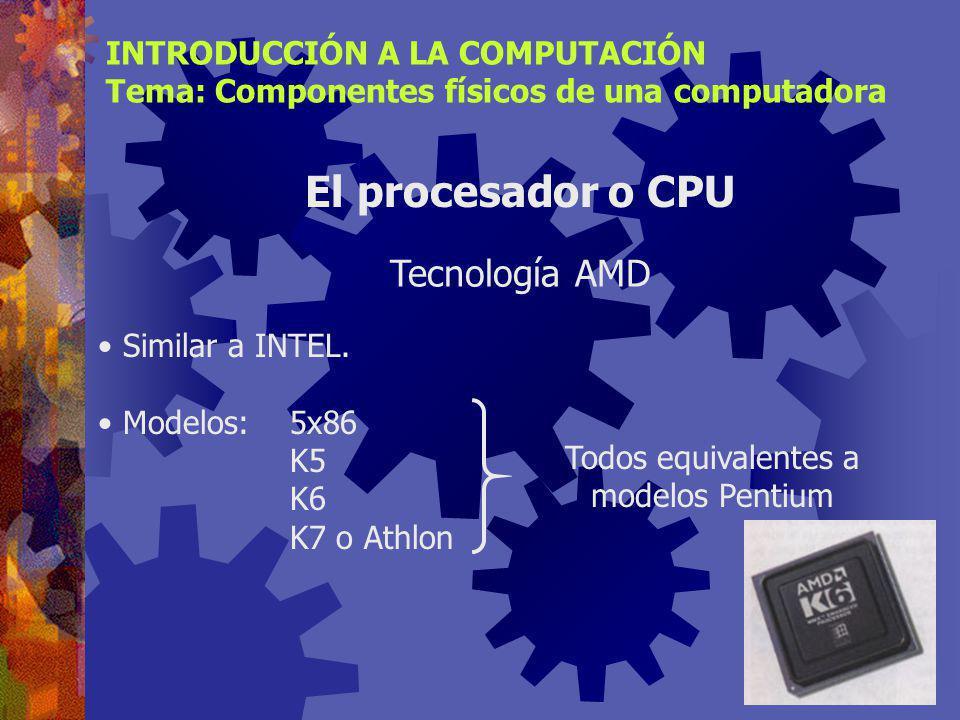 Presente en computadoras MacIntosh y Sun. Modelos:680x0 (68000, …, 68020, …) MPC (Power PC diseñada para multimedios) G3, G4 INTRODUCCIÓN A LA COMPUTA