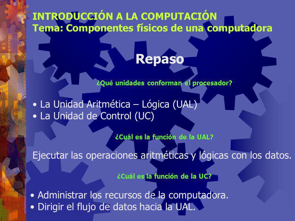 Tecnologías recientes INTRODUCCIÓN A LA COMPUTACIÓN Tema: Componentes físicos de una computadora Memoria Flash Memoria no volátil y re-escribible que