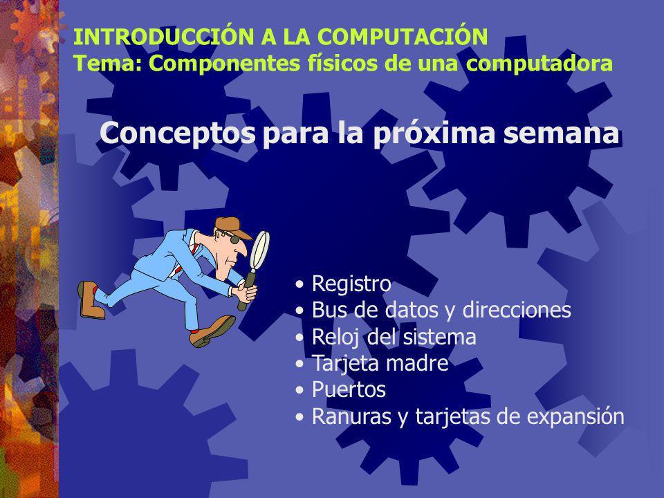 INTRODUCCIÓN A LA COMPUTACIÓN Tema: Componentes físicos de una computadora
