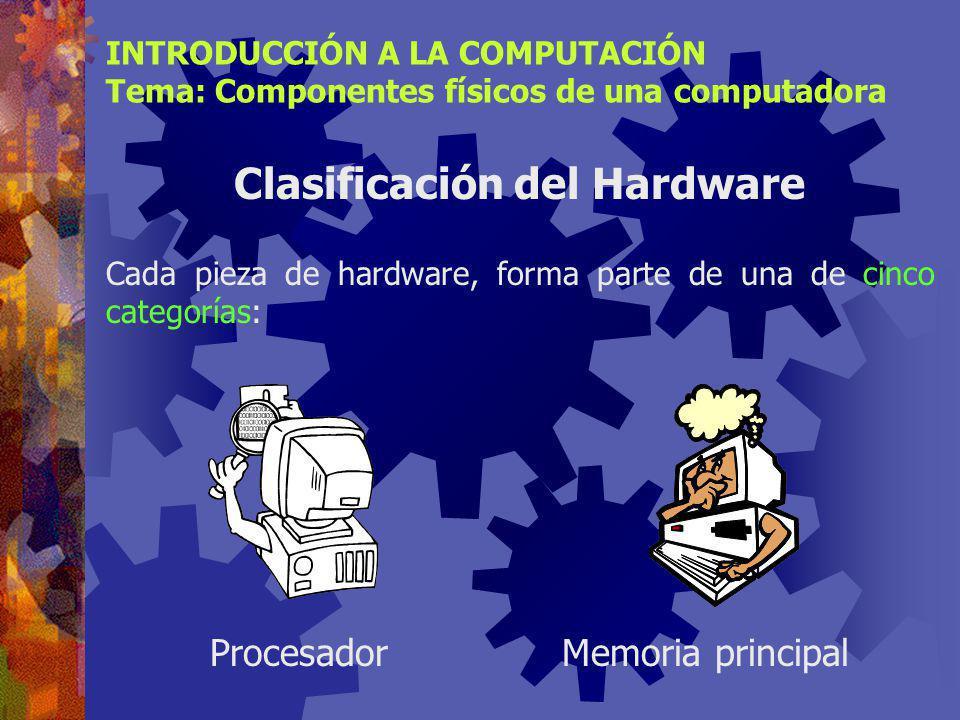 INTRODUCCIÓN A LA COMPUTACIÓN Tema: Componentes físicos de una computadora Definición de Hardware Dispositivos electrónicos interconectados que se usan para la entrada, procesamiento y salida de datos/información.