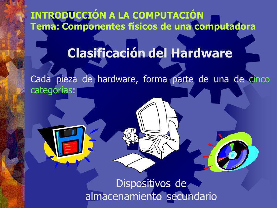 INTRODUCCIÓN A LA COMPUTACIÓN Tema: Componentes físicos de una computadora Clasificación del Hardware Cada pieza de hardware, forma parte de una de cinco categorías: Dispositivos de almacenamiento secundario